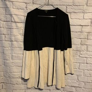 Talbots 0X X black ivory open mid length sweater